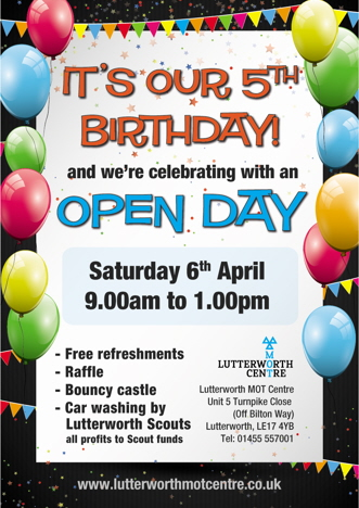 It's our birthday - and we're having an open day. Saturday April 6th 2013, 9am to 1pm.