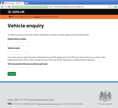 DVLA Vehicle Enquiry Service